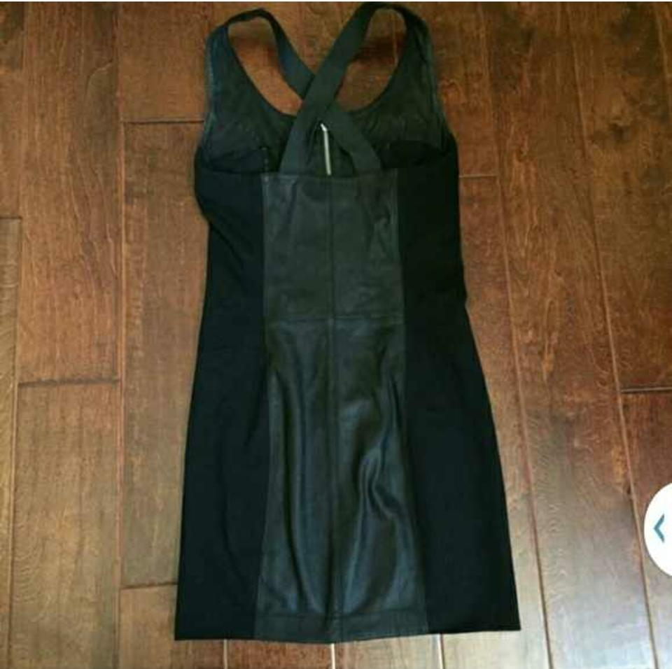 Veda Black Leather Bodycon Short Casual Dress