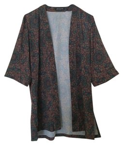 Whitney Eve Kimono Cover Up Top Black/Green/Red