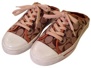 Coach Monogram Canvas Sneakers Mule Brown/khaki/tan leather Athletic