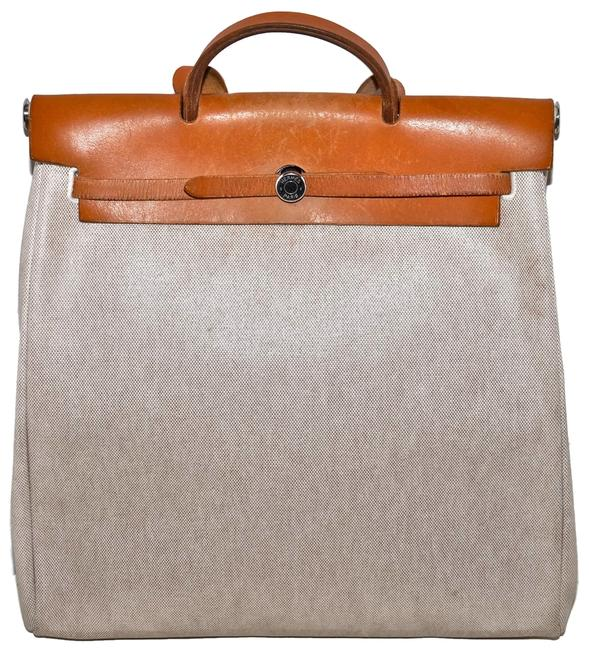 Item - Herbag Paris and Natural Leather 2 Way Large Size Tote Style Shopper Cream Canvas Shoulder Bag