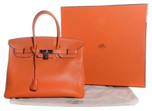 Hermès 35 Birkin Hermes Clemence Satchel in ORANGE