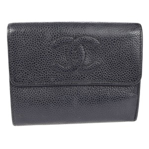 Chanel Auth CHANEL CC Logos Trifold Wallet Purse Caviar Skin Leather Black Italy 02F238