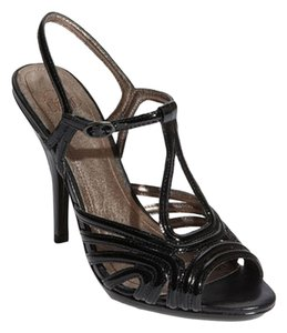 Joan & David Leather Patent Leather Black Sandals