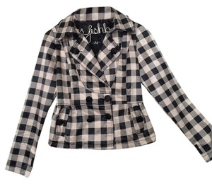 Other Silk Casual Jacket Checkered Stylish Black/White Blazer
