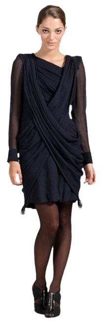 Item - Steel Crinkle Silk Chiffon Structured Shoulder Above Knee Night Out Dress Size 4 (S)