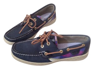 Sperry Top Sider Navy and plaid Flats