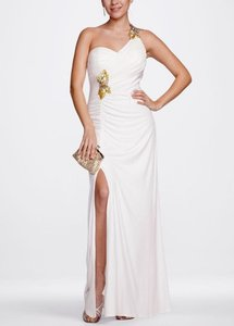 David's Bridal Ivory/Gold David's Bridal One Shoulder Jersey Dress With Sequin Detail Style 231m06010 Dress