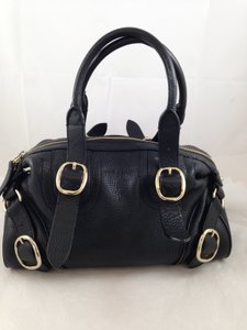 Burberry Pebbled Leather Satchel in Black