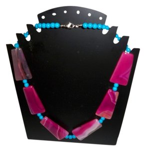 Purple Veins Agate Gem with Turquoise Beads Necklace