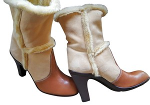 Hogan Bootie Suede Leather Fur Brown Boots