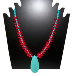 Sea Coral with Turquoise Pendant Necklace