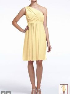 David's Bridal Canary Yellow Chiffon F15607 Formal Bridesmaid/Mob Dress Size 6 (S)
