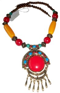 Fashion Wood Bronze Coral Crafts Necklace