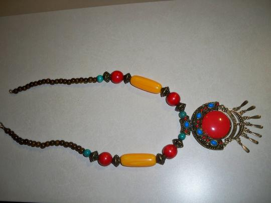 Other Fashion Wood Bronze Coral Tribal Crafts Necklace