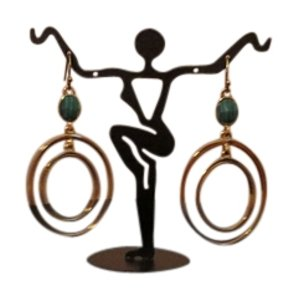 Trina Turk Trina Turk Goldtone Dual Circle Drop Earrings with Malachite Accent Stones