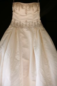 Reem Acra Ivory Duchesse Satin Ivy Formal Wedding Dress Size 10 (M)