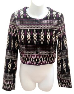 Divided by H&M Cropped Tribal Longsleeve Purple Blazer