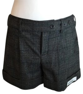 Vince Wool Plaid Cuffed Dress Shorts Gray