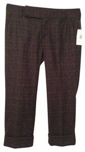 Vince Olive Wool Cropped Plaid Capri/Cropped Pants Brown
