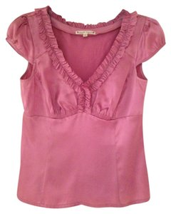 Nanette Lepore Silk Rose Empire Waist Cap Sleeve Top Pink