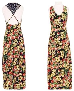 Maxi Dress by mocha Boho Crochet Bohemian Floral Print Maxi Summer