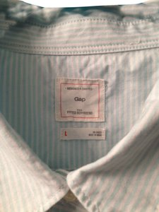 Gap Casual Button Front Button Down Shirt Light Aqua Stripe
