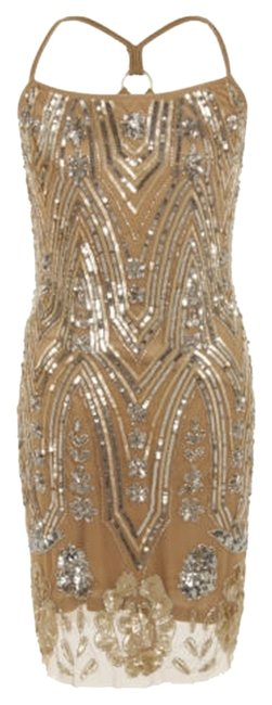 Item - Silver Gold From Uk Above Knee Cocktail Dress Size 10 (M)