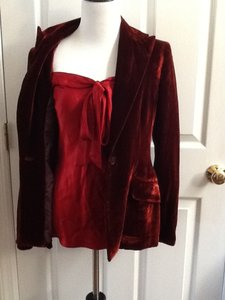 Anne Klein ANNE KLEIN RED VELVET AND SATIN 3 PC SUIT SZ 4