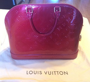 Louis Vuitton Monogram Vernis Alma Patent Leather Monogram Gm Alma Gm Barneys Chanel Prada Gucci Luxury Leather Patent Saks Lv Gold Satchel in Red/Pomme D'Amour