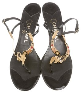 Chanel Gold Hardware Embellished Pearl Interlocking Cc Ankle Strap Black/ Gold Sandals