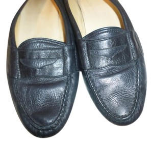 Cole Haan Leather Slip On Solid Low Heel Loafer Black Flats