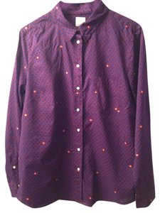 Gap Button Front Cotton Casual Fall Polka Dot Button Down Shirt Purple Dot