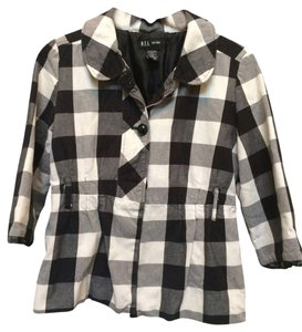 D.E.A. New York Buffalo Check Blazer Work Button Down Shirt Black and White