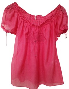Joie Cap Sleeve Semi-sheer Cotton Top Pink