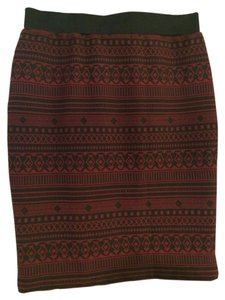 Sanctuary Clothing Sexy Slit Bodycon Juniors Skirt BLACK/ MAROON PRINT
