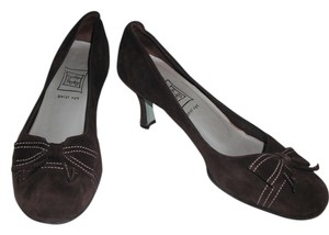Cynthia Rowley Suede Leather Bow Detail Chocolate Brown Pumps