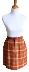 Other Plaid A-line Skirt orange, yellow, blue