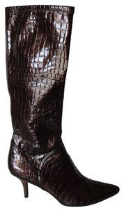 Audrey Brooke Crocodile Brown Heels High Tall Pretty brown crocodile Boots