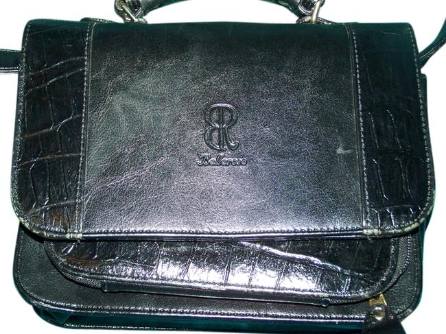 Item - Sections Classey Tote Shoulderstrap Vintage Lined Black Leather with Cloth Lining Clutch
