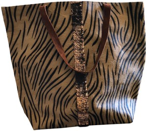 Anthropologie Animal Print Fall Sequins Tote in Brown & Black