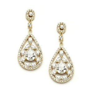 Stunning Gold Crystal Mosaic Pears & Marquis Bridal Earrings