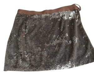 Haute Hippie Mini Skirt Beige with silver