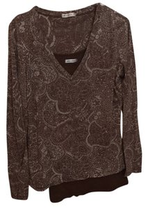 Allen Allen V-neck Camisole Distressed Longsleeve Top Soft brown with off-white pattern; solid brown cami underneath.