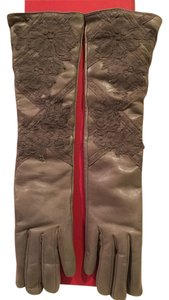 Valentino Valentino Taupe Leather Lace Applique Cashmere Lined Long Glove Size 7