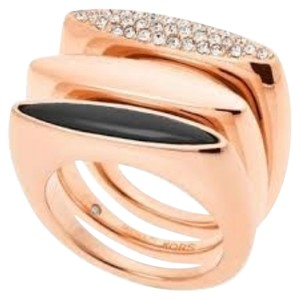Michael Kors Nwt Michael Kors Rose Gold Tone With Pave And Onyx Rings Size 7
