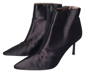 DKNY Satin Stiletto Ankle Black Boots