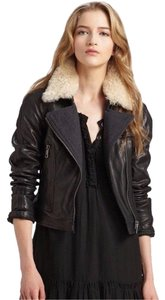 Burberry Leather Shearling Fur Moto Biker Leather Jacket