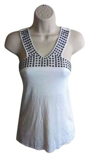 bebe Viscose Top White With Silver Studded Neckline