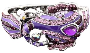 Sugar Plum and Jonathan Elephant Bracelet w/Purple Swarovski Crystal and Rhinestones