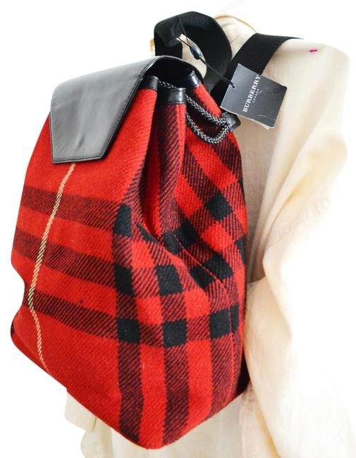 Item - Red Wool Cotton Backpack